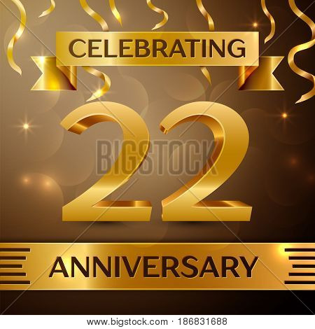 Twenty two Years Anniversary Celebration Design. Confetti and gold ribbon on golden background. Colorful Vector template elements for your birthday party. Anniversary ribbon