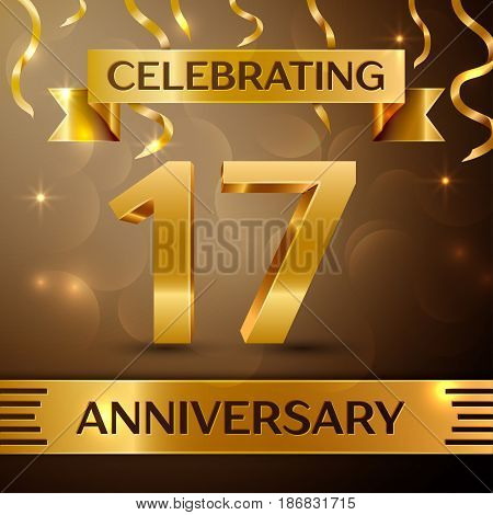 Seventeen Years Anniversary Celebration Design. Confetti and gold ribbon on golden background. Colorful Vector template elements for your birthday party. Anniversary ribbon