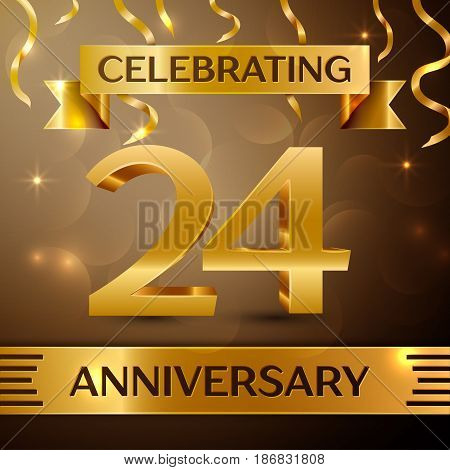 Twenty four Years Anniversary Celebration Design. Confetti and gold ribbon on golden background. Colorful Vector template elements for your birthday party. Anniversary ribbon