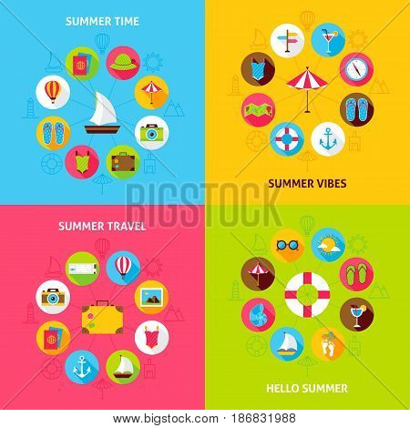 Summer Travel Concepts Set. Vector Illustration of Sea Holiday Infographic Circle with Flat Icons.