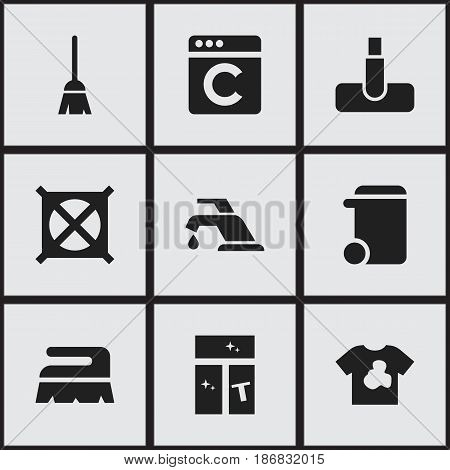 Set Of 9 Editable Cleanup Icons. Includes Symbols Such As Sweep, Faucet, Broomstick And More. Can Be Used For Web, Mobile, UI And Infographic Design.