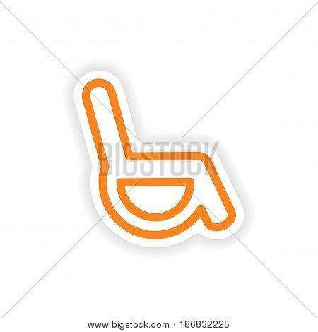 paper sticker on white background wheel chair