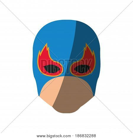 colorful silhouette with faceless man superhero and middle mask and shape of flame around the eyes and without contour and shading vector illustration