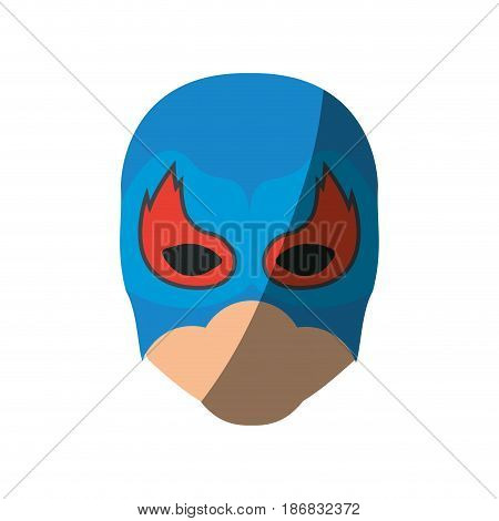 colorful silhouette with faceless man superhero masked with flame around the eyes and without contour and shading vector illustration