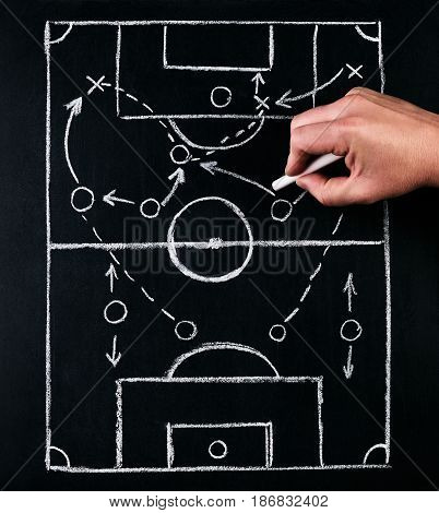 Strategy of football or soccer play tactics drawn by chalk on the chalk board with a football coach during the time out