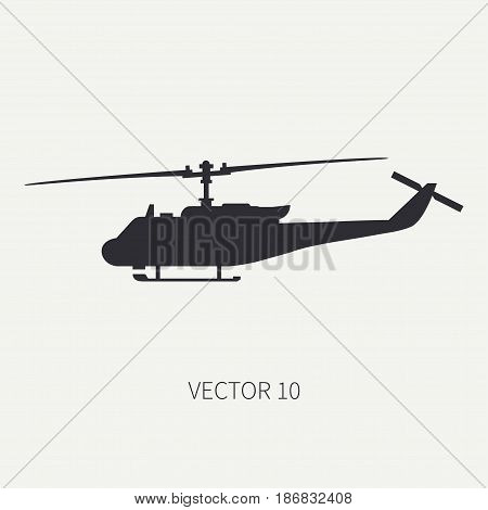 Silhouette. Line flat vector icon military turboprop transportation helicopter. Army equipment and armament. Retro copter. Cartoon. Assault. Soldiers. Illustration and element for design, wallpaper.