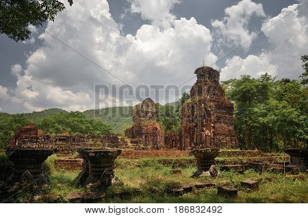 Ruins My Son. Ancient Hindu tamples of Cham culture in Vietnam. Included in the UNESCO World Heritage Site My Son is an ensemble of ancient Hindu temples built by the Kingdom of Champa in Central Vietnam