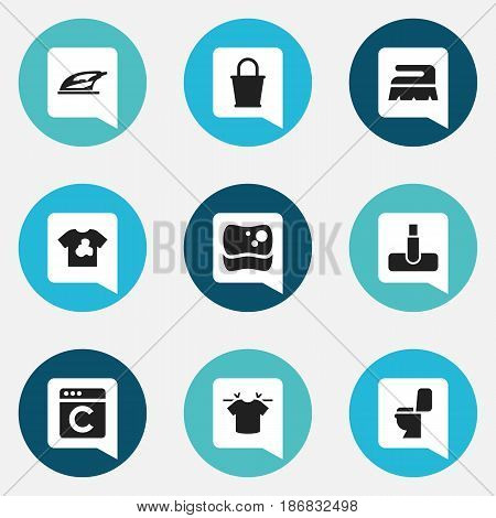 Set Of 9 Editable Dry-Cleaning Icons. Includes Symbols Such As Unclean Blouse, Clean T-Shirt, Laundress And More. Can Be Used For Web, Mobile, UI And Infographic Design.