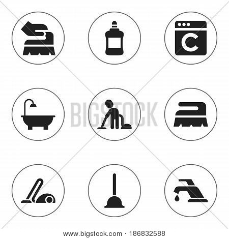Set Of 9 Editable Cleanup Icons. Includes Symbols Such As Cleaner, Servant, Vacuum Cleaner And More. Can Be Used For Web, Mobile, UI And Infographic Design.