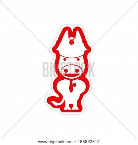 stylish paper sticker on white background donkey cop