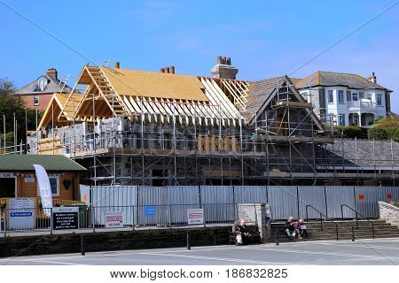 Padstow, Cornwall, Uk - April 6Th 2017: Building Works Taking Place Near The Harbour In The Cornish