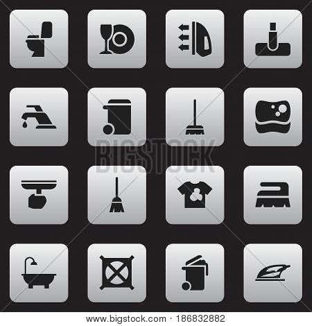 Set Of 16 Editable Cleaning Icons. Includes Symbols Such As Faucet, Bathroom, Whisk And More. Can Be Used For Web, Mobile, UI And Infographic Design.