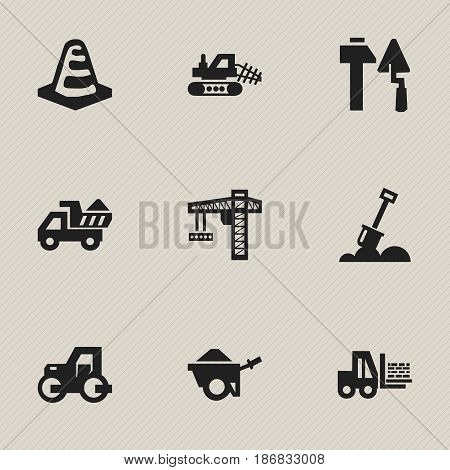 Set Of 9 Editable Construction Icons. Includes Symbols Such As Lifting Equipment, Trolley, Construction Tools And More. Can Be Used For Web, Mobile, UI And Infographic Design.