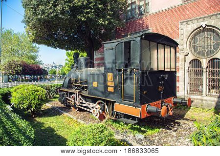 ISTANBUL TURKEY - MAY 2 2017: Ancient locomotive on Istanbul's Sirkeci train station Turkey. Placed as a monument in honor of the famous Orient Express