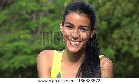 A Smiling Face Of Latina Female Teen