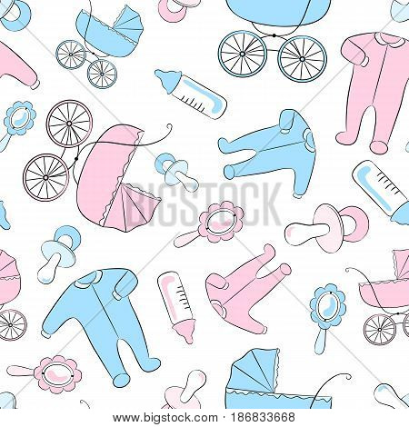 Seamless vector pattern with newborn accessories: clothing baby carriages soothers rattles and feeding bottles.