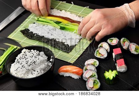 Sushi Roll Process Of Making Raw Makki With Cucumber
