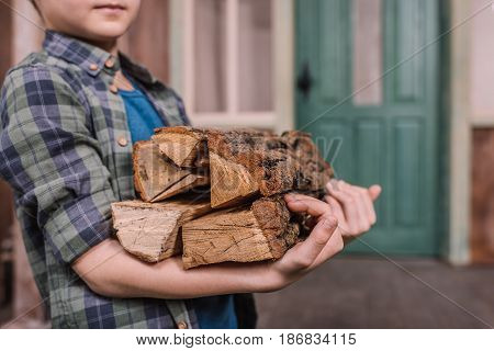 Close Up Of Kid Boy Collecting Wood Logs At Backyard, Cooking