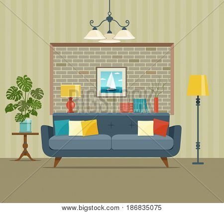 Retro interior living room with bookcase,sofa, houseplant monstera. Vector flat illustration