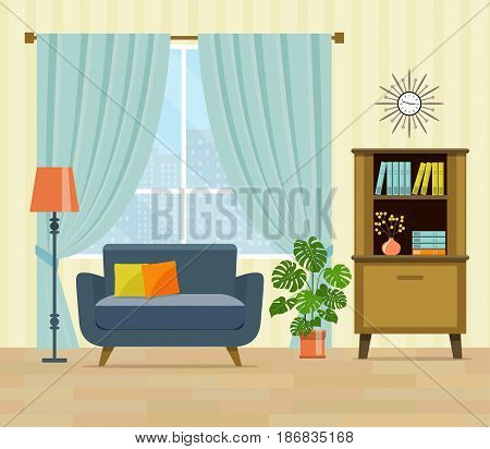 flat retro interior living room with bookcase,chair, window and houseplant.vector illustration