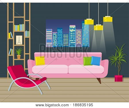 Modern living room interior with couch, lamps, wooden floor and picture with night city view. Vector flat illustration.