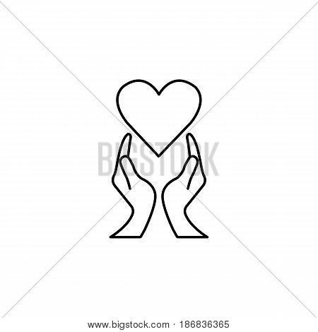 Heart with hands line icon,  healtcare sign, vector graphics, a linear pattern on a white background, eps 10.