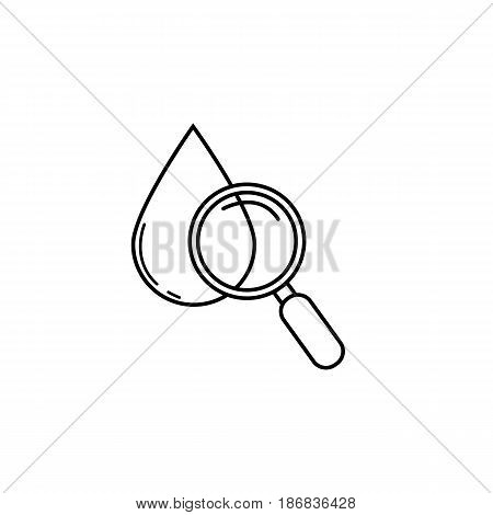 Blood drop test with magnifier line icon, vector graphics, linear pattern on a white background, eps 10.