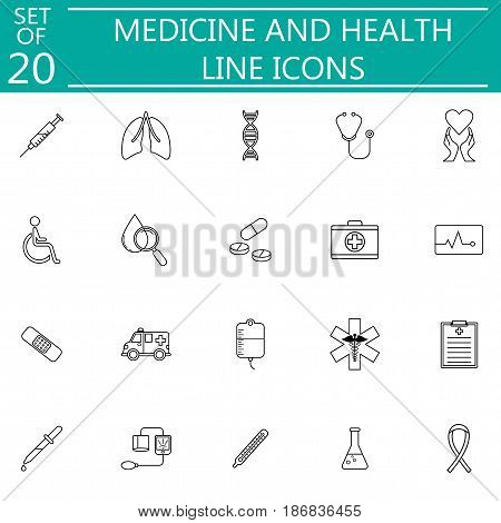 Medicine and health line icon set medical symbols collection, vector sketches, logo illustrations, linear pictograms isolated on white background, eps 10.