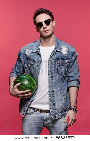 Portrait Of Young Handsome Casual Man Holding Watermelon, Attractive Young Man