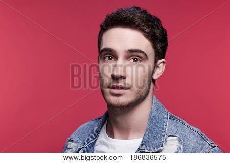Close Up Portrait Of Young Handsome Casual Man Looking At Camera, Attractive Young Man