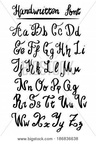 Handwritten lettering vector font aphabet. Vector illustration