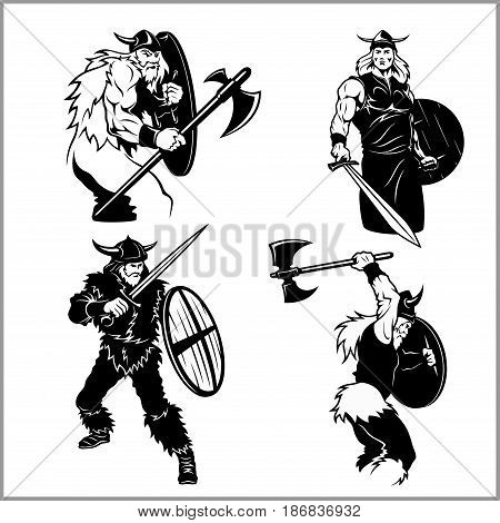 Fighting vikings vector set - isolated on white