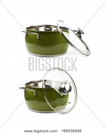 Steel green stock pot with a glass lid, composition isolated over the white background, set of two different foreshortenings