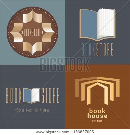 Bookstore, bookshop vector icon, logo. Set of graphic design elements with open books