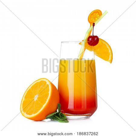 Glass of Tequila Sunrise cocktail on white background