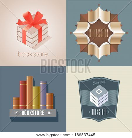 Set of bookstore, bookshop vector icon, logo. Graphic design element with books on shelf and books as gift for store