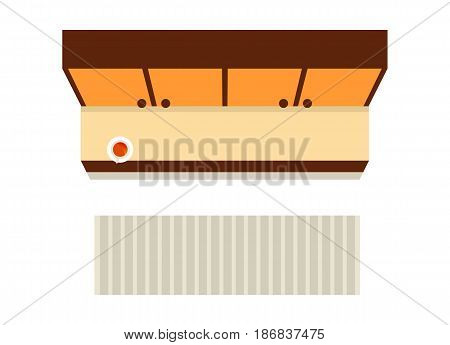 Top view hallway interior element isolated on white background vector illustration. Apartment furniture design with wardrobe and carpet in flat design