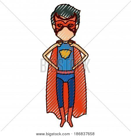 colored pencil silhouette with faceless superhero young flying with hands in your waist vector illustration