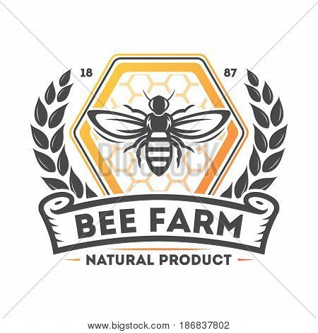 Bee farm vintage label isolated vector illustration. Traditional beekeeping icon, organic honey product logo, natural sweet food badge.