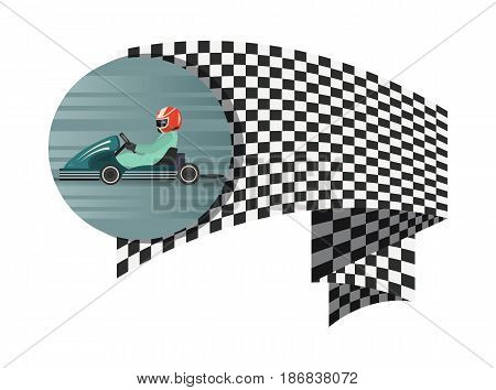 Kart competition symbol with checkered flag isolated vector illustration. Extreme karting sport, road trophy race championship, driver racing on go kart.