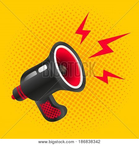Vector vintage poster with megaphone on halftone background. Black megaphone on yellow background.