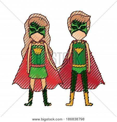 colored pencil silhouette with faceless duo of superheroes united of the hands and her with long wavy hair vector illustration