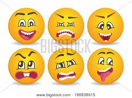 Smileys with different face expression stuck. Happiness, anger, joy, fury, sad, playful, fear, surprise comic yellow faces, round emoji characters. Cute isolated vector facial expressions icon set.
