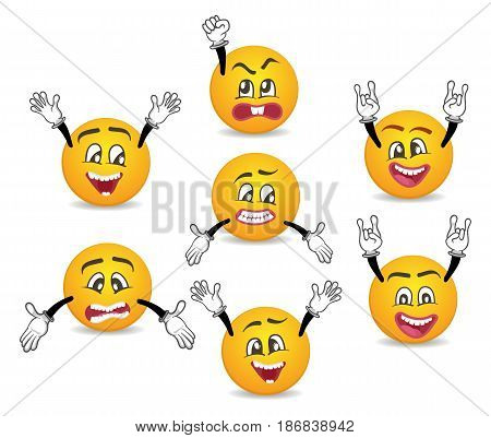 3d funny smileys faces with hands gesture set. Happiness, anger, joy, fury, sad, playful, fear, surprise smiley, fun comic faces with different facial expressions. Isolated vector emoji characters