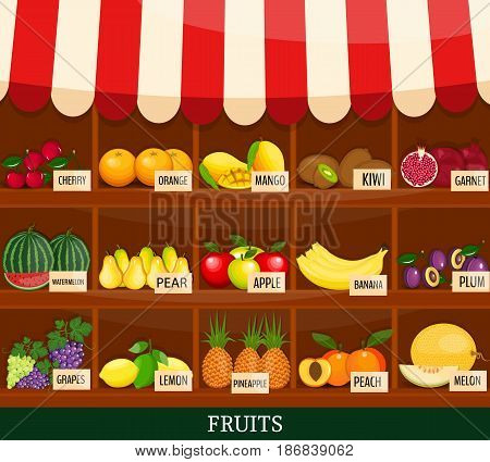 Local fruits stall. Fresh organic food products shop. Modern flat style realistic. promote healthy eating concept. Food market shop