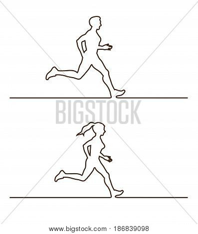 Line silhouettes of runners. Vector illustration set of linear runners figures
