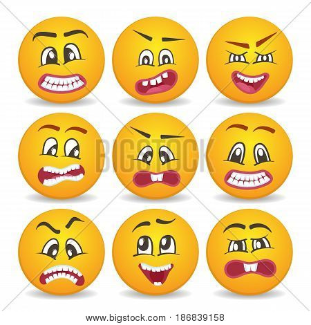 Cute smiley faces with different facial expressions set. Emoticon cartoon set isolated vector illustration. Happiness, anger, joy, fear, surprise smiley, fun comic yellow faces, round emoji characters