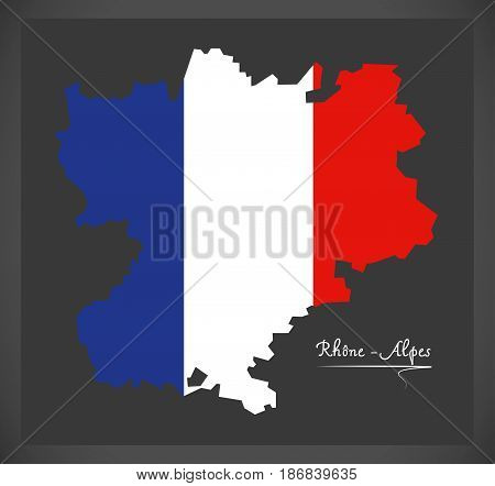 Rhone -  Alpes Map With French National Flag Illustration