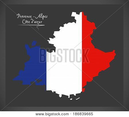 Provence -  Alpes Cote Dazur Map With French National Flag Illustration