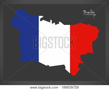 Picardie Map With French National Flag Illustration